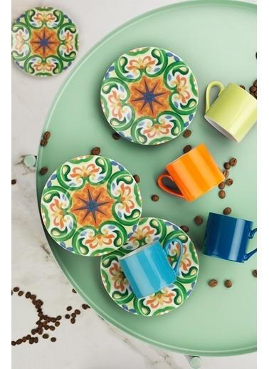 Kütahya Porselen Rüya 8301 Desen Kahve Fincan Takımı Renkli